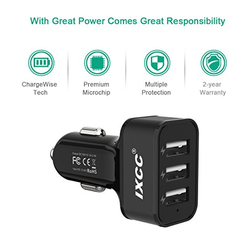 iXCC UL Certified 36W/7.2A 3 Port Car Charger, Fast Car Charger Adapter for iPhone 7s 6s Plus, USB Car Charging Ports for Galaxy S8+ S7 S6 Edge, iPad Pro Air mini, Note 5, LG, Nexus and More - Black