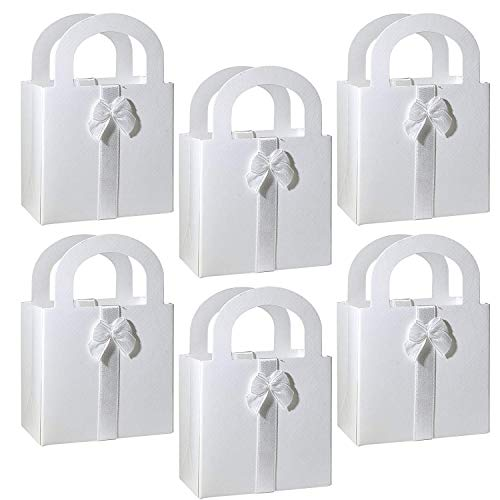 50 White Favor Bags Craft Kit with Handles Bow with a Diamond Pattern for Guest Candy Goodie Treat Bags Party Supplies Decorations Wedding Reception Birthday Baby & Bridal Shower 2 3/4″ x 2″ x 4 1/4″