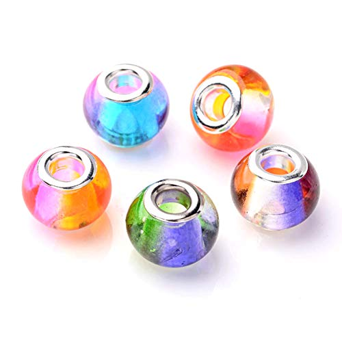 Craftdady 100Pcs Rainbow Mixed Colors Glass Large Hole European Beads 15x12mm Rondelle Slide Bead Spacers for DIY Snake Chain Charm Bracelet Making with 5mm Big Hole
