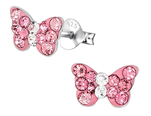 - Hypoallergenic Sterling Silver Crystal Butterfly Stud Earrings for Kids - Pink