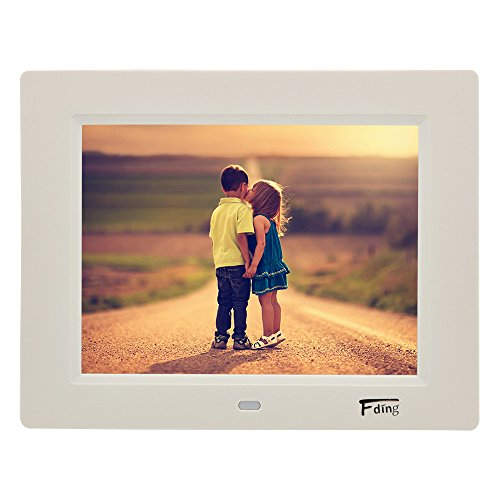 - 8 Inch 1024x600 Hi-Res LED Digital Photo Frame & HD Video Playback with 8GB SD Card-White