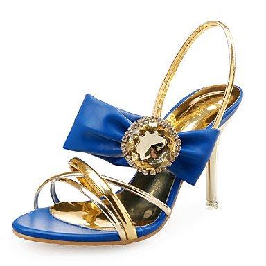 LvYuan Mujer-Tacón Stiletto-Zapatos del club-Sandalias-Boda Vestido Fiesta y Noche-Cuero Sintético Purpurina-Azul Blanco White