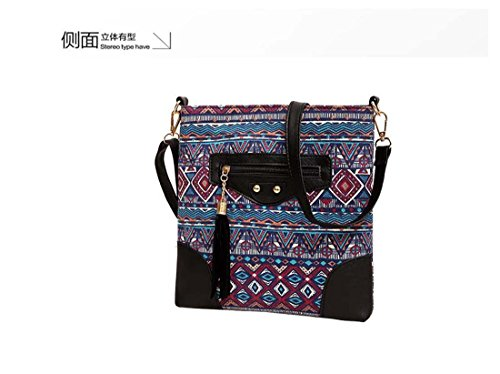 Black 1 Zipper Ethnic Canvas 2 Bag Women Prints Handbag Zipper Shoulder color xvwa0fq