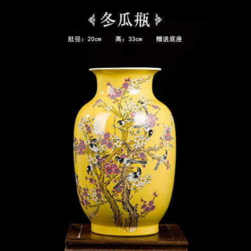 (Decorative Vases for Living Room Table,Handmade Vintage Chinese Ceramic Yellow Wax Gourd Shaped Vase for Home Decor,Hand Painted Colorful Birds and Flowers,Modern Elegant China Porcelain Artwork)