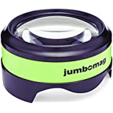Jumbomag LED Desktop Magnifying Glass with 5X Magnification, High Quality Dome Glass with Large Viewing Area, Easy to Grip, Ideal for Reading Small Print, Low Vision, Crafts, Coins, Maps, & Hobbies
