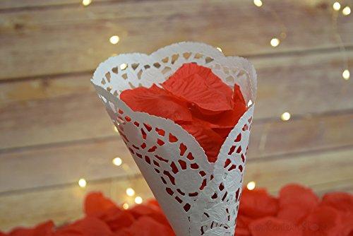 Quasimoon Red Silk Rose Petals Confetti for Weddings in Bulk