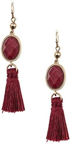 Trendy Fashion Jewelry Faceted Oval Gem Tassel Dangle Earring By Fashion Destination