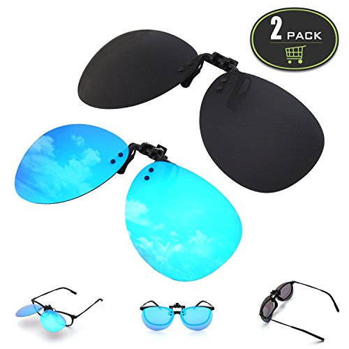GQUEEN 2-Pack Polarized Clip-on Rimless Pilot Lens Driving Sunglasses,JP94