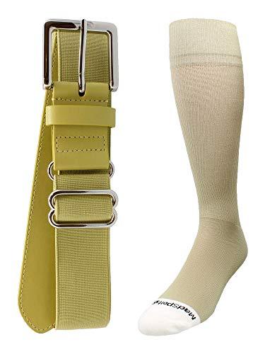 MadSportsStuff Pro Line Baseball Socks and Belt Combo (Vegas Gold, Large) ()