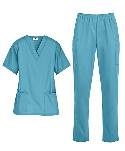 Women's Medical Uniform Scrub Set - Includes V-Neck Top and Elastic Pant (XS-3X, 14 Colors) (XX-Large, Turquoise)