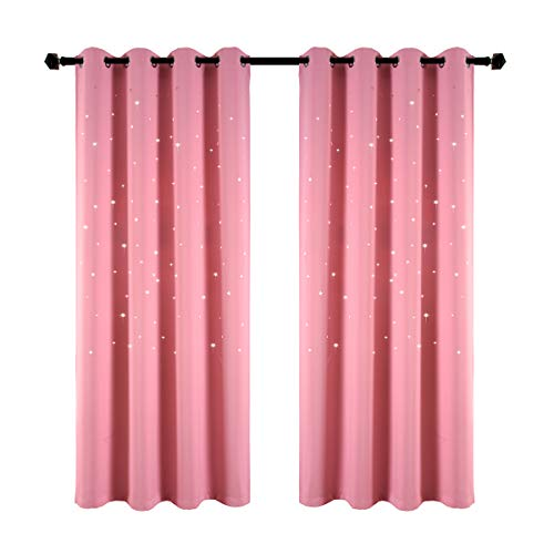 Girls Bedroom Curtain for Starry Night Twinkle Blackout Curtains, 2 Panels Grommet Top Nursery Essential Star Cutout Curtains Perfect for Kids/Space-Loving Grown-ups, W52 x L84 Inches, Baby Pink