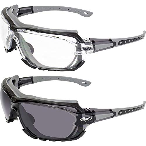 2 Pair Global Vision Octane Padded Motorcycle Sport Sunglasses Gray with Clear and Smoke Lens ()