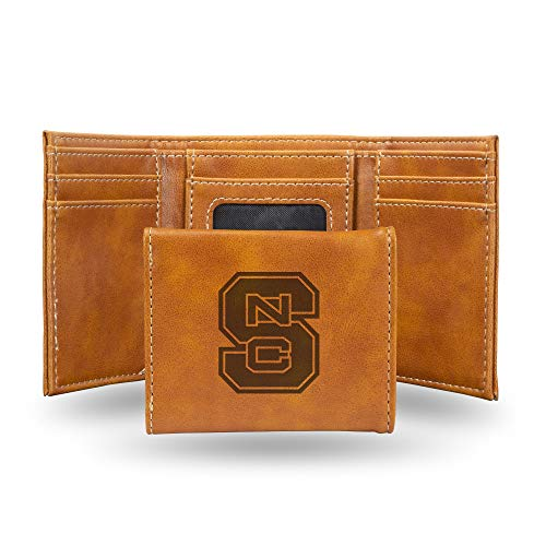 Rico Industries NCAA North Carolina State Wolfpack Laser Engraved Tri-Fold Wallet, Brown ()