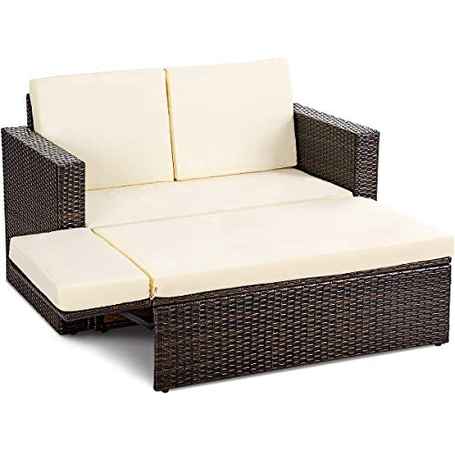 Tangkula 2 PCS Loveseat Outdoor Patio Wicker Rattan Love Seat Sofa Daybed Set Garden Furniture W/White Cushions (Outdoor Lounge Bed)