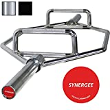 "Cheap iheartsynergee 25kg Chrome Olympic Hex Barbell Trap Bar with Two Handles for Squats, Deadlifts, Shrugs and Power Pulls. 56"" Long Bar with 10"" Sleeve."
