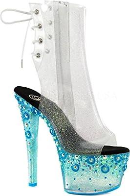 Pleaser SKY-1018UVMG Women's Open Toe/Heel Back Lace-Up Platform Ankle Boot