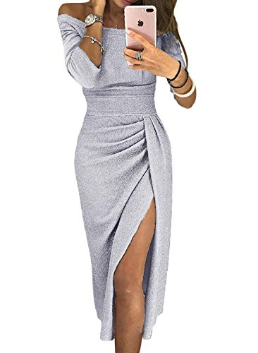 Douremifa Womens Casual Formal Off Shoulder High Slit Party Cute Midi Dress Prom Gown Cocktail Club Bodycon Glitter Slit Pencil Dress Sexy XL
