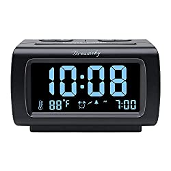 DreamSky Deluxe Alarm Clock Radio with FM Radio, USB Port for Charging, 1.2 Blue Digit Display with Dimmer, Temperature Display, Snooze, Adjustable Alarm Volume, Sleep Timer.
