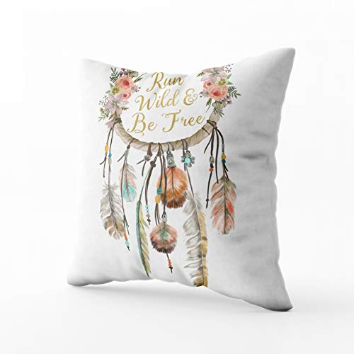 EMMTEEY Home Decor Throw Pillowcase for Sofa Cushion Cover Boho Dreamcatcher Tribal Feather Nursery Decorative Square Accent Zippered and Double Sided Printing Pillow Case Covers 16X16Inch