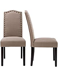 lssbought set of 2 luxurious fabric dining chairs with copper nails and solid wood legs