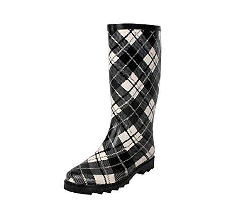 Womens Mid Calf Weather Proof Rubber Rain Boots in Leopard, Zebra, French, Grafitti Black Plaid