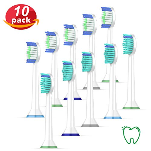 (Replacement Toothbrush Heads,10Pack Replacement Heads for HX6063/64,HX9024,EasyClean,Essence+(plus),More Sonic Snap-On Brush Handles)