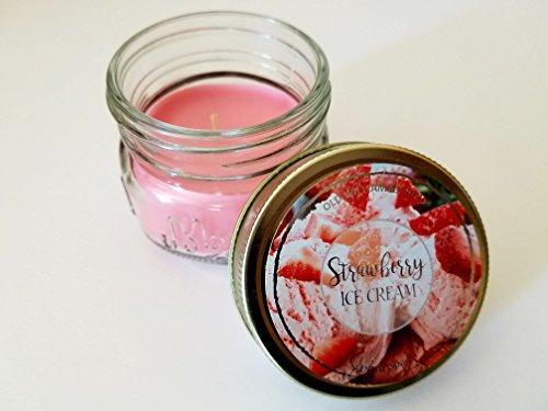 Ice Cream Scented Candle - Mini Mason Jar Strawberry Ice Cream Scented Candle - 3oz