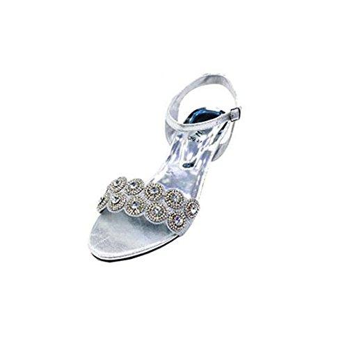 Wear & Walk UK Women Ladies Evening Fashion Sandal Comfort Diamante Bridal Wedding Platform Shoes Size Silver sikTbWj
