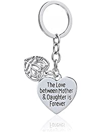 Mother's Day Gift Love Between Mother Daughter Is Forever Double Heart Key Chain Ring for Family Women (Style A)