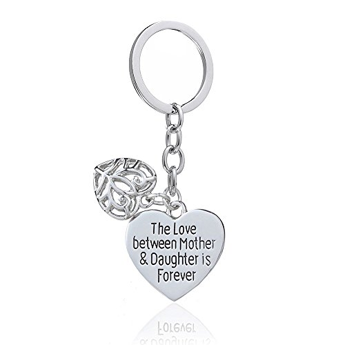 - Mother's Day Gift Love Between Mother Daughter Is Forever Double Heart Key Chain Ring for Family Women (Style A)