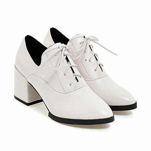 Mee Shoes Damen chunky heels mit Schnürsenkel Schlupfstiefel Weiß