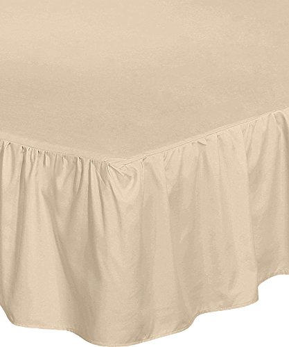 Utopia Bedding Bed Ruffle Skirt (Queen - Beige) - Brushed Microfiber Bed Wrap with Platform - Easy Fit - Gathered Style - 3 Sided (Drop Queen Dust Ruffle)