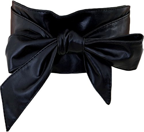 [Nanxson(TM) Women's Soft Pu Faux Leather Obi Waist Band Belt PDW0009 black] (Sexy Black Belt)