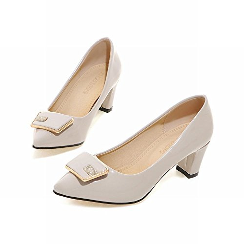Charm Foot Womens Chunky Heels Pointed Toe Pumps with Square Buckle Apricot AA3UYHr6