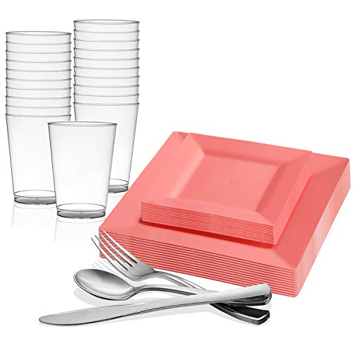 (Disposable Plastic Dinnerware Set for 60 Guests - Includes Fancy Square Coral Dinner Plates, Dessert/Salad Plates, Silverware Set/Silver Cutlery & Cups For Wedding, Birthday Party & Other Occasions)