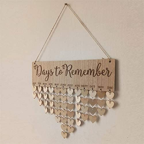 CloverUS Hanging Ornament Board with Days to Remember Letters Natural Wood Board