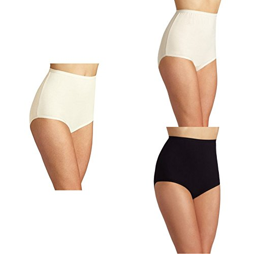 - Vanity Fair Women's Perfectly Yours Tailored Cotton Brief Panty 15318, Candleglow/Fawn/Midnight Black, Medium/6