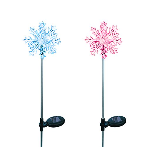 Solar Powered Snowflakes 3D Garden Stake Landscape Color Change Lights (Set of 2)