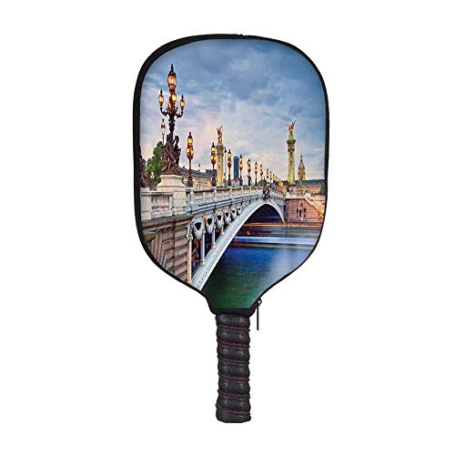 (YOLIYANA Paris Decor Fashion Racket Cover,Paris The Alexandre III Bridge Located in Paris France and Sculptures Statue Urban for Playground,8.3