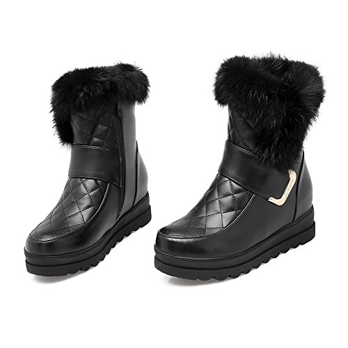 Soft Heels Boots Kitten AgooLar Closed Round top Women's Toe Black Material Zipper Low ARSqHpw