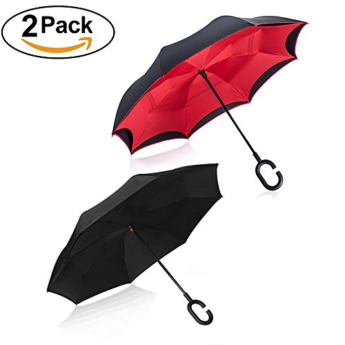 Upside Down Umbrella Windproof by TOOGE, Double Layer Inverted Umbrella Waterproof for Car Rain Outdoor with C-Shaped Handle (Umbrella Down)
