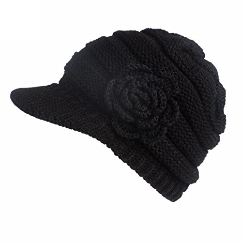 VigorY Women Winter Warm Knit Hat Snow Ski Caps with Visor Exclusives Women's Knitted Cute Beanie with Flower Accent Hat (Black)