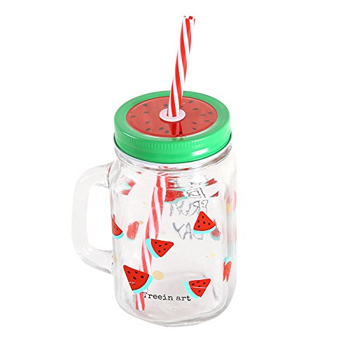 Watermelon Mason Glass Drinking Jars Cocktails and Smoothies Glass Mugs with Lid & Straw