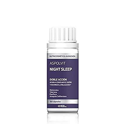ASPOLVIT - Night Sleep Suplemento natural con melatonina que ayuda a dormir mejor y elimina el