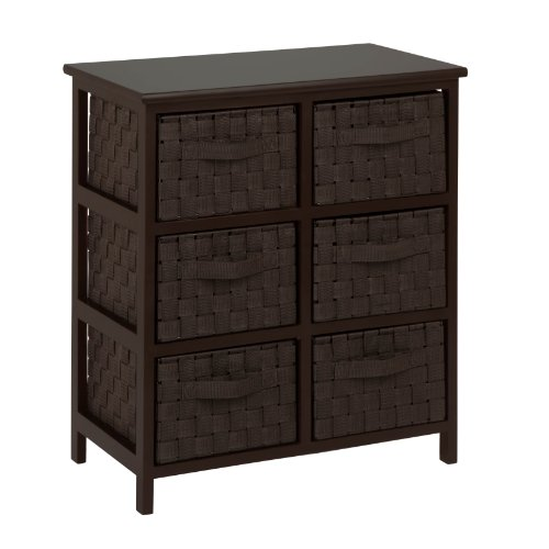 Captivating Honey Can Do TBL 03759 6 Drawer Storage Chest With Woven Strap Fabric,  Espresso, 24 Inch