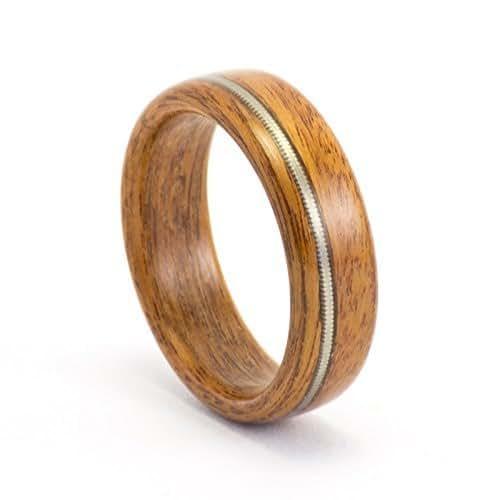 wood wedding ring men 39 s wooden ring rosewood and guitar string ring handmade. Black Bedroom Furniture Sets. Home Design Ideas