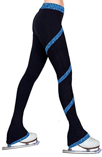 (ny2 Sportswear Figure Skating Spiral Polartec Polar Fleece Pants (Hologram Foil Blue, Adult Small))