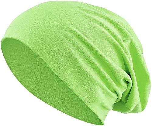 Unisexe Jersey Homme Beanie Beanie Slouch Vert Femme 3 Coton Bonnet et Heather Clair Long Élastique Hn4SUHY