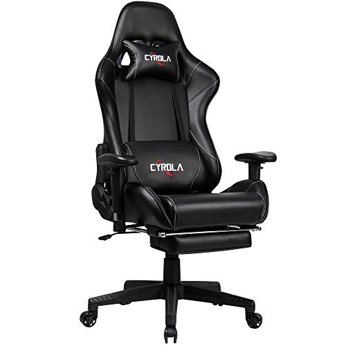 Cyrola Racing Gaming Chair for PC Gamer High Back 90-180 Adjustable Video Game Chair for Adults 360 Swivel Large Size Ergonomic Computer Office Gaming Chair with Footrest Armrest Lumbar Support Black