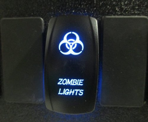Adrenaline Cycles Dual BackLit LED BLUE ZOMBIE Rocker Switch ON OFF NEW FOR ALL ATV UTV OFF ROAD 4X4 VEHICLES TRUCKS JEEP SUV BOAT RV SXS #ACZSB